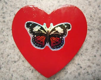 Colorful Metallic Butterfly on Red Wood Heart Magnet - Kitchen Decor - Home Decor