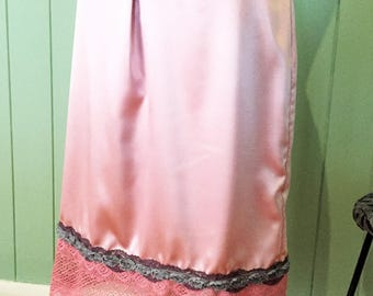 Pink Satin & Lace Midi Slip Skirt Size 12