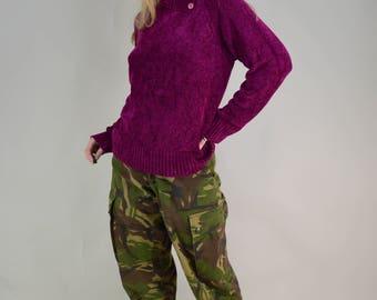 90s Grunge Hot Pink Chenille Button Turtleneck Sweater M / L