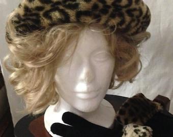 1960s Faux Fur Leopard Print & Black Hat and Glove Set, Vintage