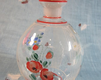 Vintage 1930's Czech Handpainted Glass Decanter - Petite and Delicate
