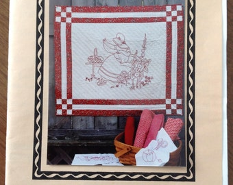 The Stitcher, redwork quilt, redwork wallhanging, quilted wallhanging, embroidered wallhanging, 24x28 wallhanging, vintage redwork,