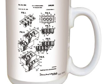 Lego Mug. Vintage patent art from the archives of the United States Patent Office. Large 15 ounce ceramic mug comfortable handle