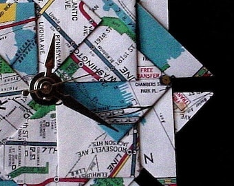 Unique Christmas Gift For Him - Old NY City Subway Map Origami Clock-Large