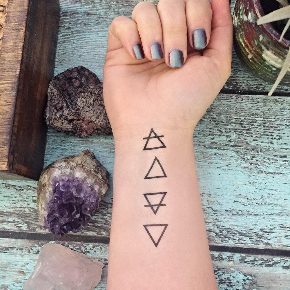 temporary tattoo elemental element symbols rh etsy com earth air fire water symbols tattoos earth air fire water spirit tattoo