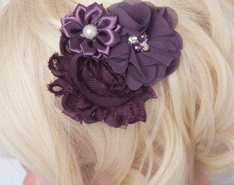 Plum hair clip, purple hair clip, flower hair clip, grey hair clip, eggplant hair clip, girl hair clip, flower girl gift, girl birthday gift