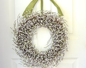 White raspberry wreath -  front door decor - Spring Summer wreath - Year round wreath - wedding wreath