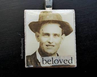 Vintage photograph necklace pendant - Beloved