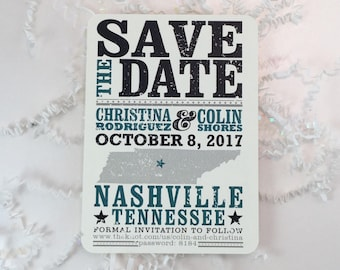 Teal Tennessee Hatch Show Inspired Save the Date Postcards