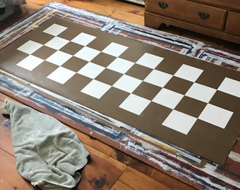 """28""""x72"""" checkered floor runner brown and white"""