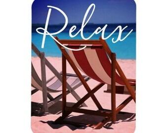 Relax Inspirational Magnet | Beach Chair Magnet Relaxing Motivational Magnet - Refrigerator Magnet Kitchen Magnet Kitchen Decor Home Decor