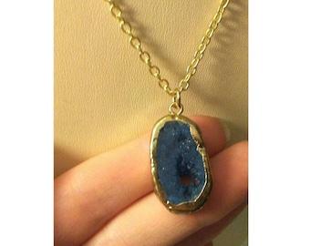 Blue Druzy Quartz necklace