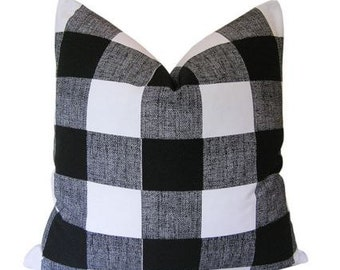 Black and White Checkered Down Feather Pillow