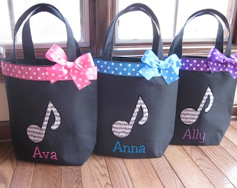 TOTE BAG Music Note Toddler or Big Kid Tote WITH Ribbon Trim and Bow