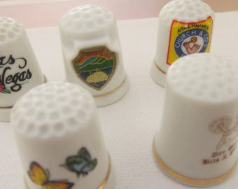Vintage Thimbles, Various, Church & Sons Soda, Dee Bees Bits Pcs, Las Vegas, Vancouver Island, Butterfly,Collectible Thinbles