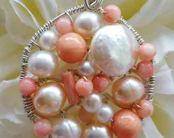 PENDANT Salmon Coral Pearl Wire wrapped Sterling silver Round Pendant