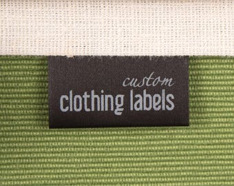100 Custom Sewing Labels, Black Fabric Labels, Satin Garment Tags, Folded Custom Clothing Labels, 100% Washable, Delivered CUT