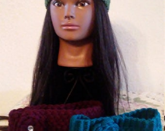 Hand-Crafted Crocheted Headband. Knit Flower Headband. Knit Ear Warmer. Women Knit Headbands Knit Turban.