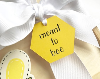 Bridal shower- gift tag- meant to bee- hexagon tag- yellow- set of 10- bride to bee- bridal shower- calligraphy- bumble bee- engagement