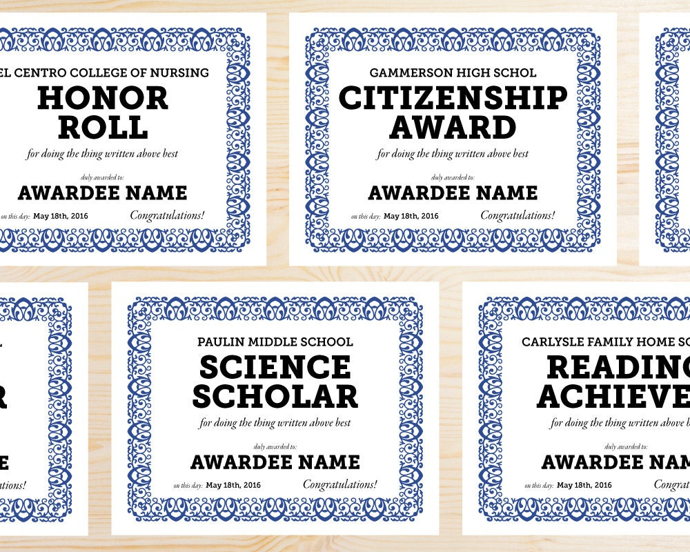 Editable School Award Certificates Instant Download