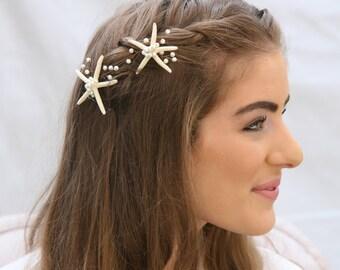 Starfish Hair Pins Beach Wedding Starfish and Pearl Bobby Pin Set, Nautical Wedding Hair Pins, Destination Wedding Beaded Headpiece