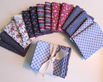 14 Vintage Blue Red Tiny Floral Calico Fabric Quilting Pieces Cuts Sewing Doll Stash Builder Bundle Fun Bowl Filler Lot