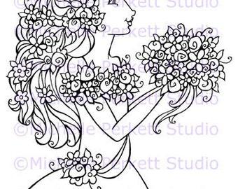 Digital Stamp Image Flower Wedding Goddess Bride Stamping Cardmaking Scrapbooking