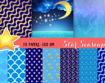 Ocean Digital Paper, Gold Ocean Paper, Night Ocean Paper, Digital Sea paper, Blue sea paper, ocean background, Ocean backdrop, Sea wallpaper