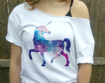Cute Unicorn Shirt, Unicorn tee, Unicorn Party, slouchy shirt, cute t-shirt, Dolman, Slouchy Shirt, White Slouchy Off shoulder.