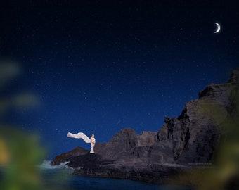 Starry Night Ocean Digital backdrop