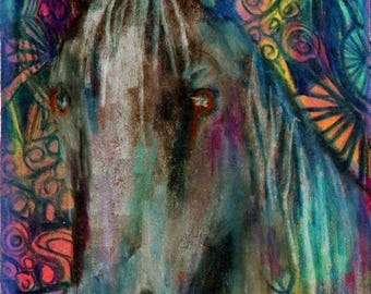original art  aceo drawing black horse spirit animal zentangle