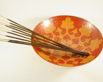 Boho Indian Brass Bowl with Red & Orange Cloisonne