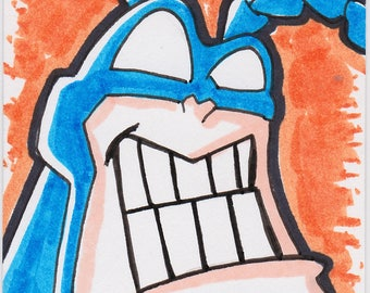 "The Tick 2 1/2"" x 3 1/2"" artist trading card ACEO"