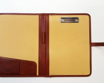 Noda Italian Genuine Leather Business Presentation Meeting Conference Folder a4 with Clipboard Cognac