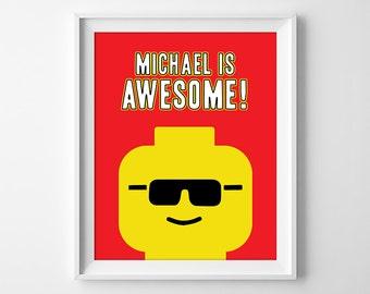 Everything is Awesome, Building Bricks Art, Building Brick Prints, Boys Room Decor, Custom Boys Wall Art, Digital Download
