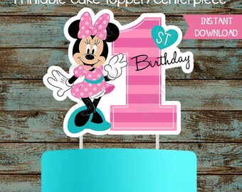 Baby Minnie Mouse 1st Birthday Cake Topper Printable Custom