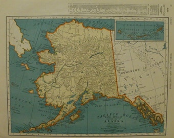 Alaska Map,Wyoming Map,Anchorage Laramie Yellowstone,USA State Maps, State Map Art,Place on the World Map,2 Sided 1941 9x12 VS11