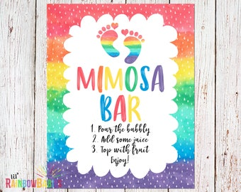 PRINTABLE Mimosa Bar Sign, Rainbow Baby Shower Sign, Baby Shower Decoration, Mimosa Bar Printable Sign, Baby Shower Party, INSTANT DOWNLOAD