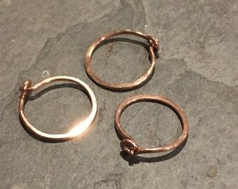 single 14kt rose gold hammered hoop 20ga, 1/2 inch hoop tiny cartilage