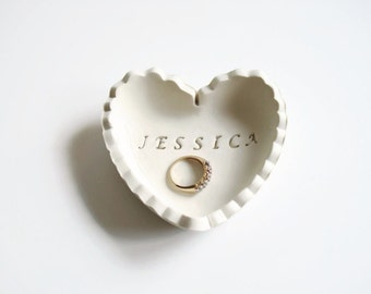 Gift for Bride - Unique Personalized Wedding Gift Ring Dish - Bridesmaid Gift - Heart Ring Holder Dish - Gift for Wife - Gift for Girlfriend