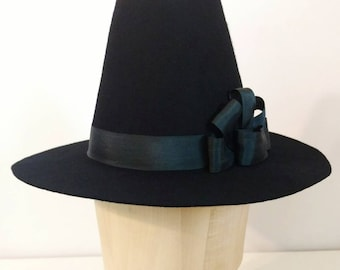 Custom 18th Century Hat - Historical Felt Top Hat, Ladies Riding Style Hat, Tall Crown Hat  - 1790s Style - Made To Order