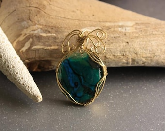 Fused glass and wire wrapped pendant