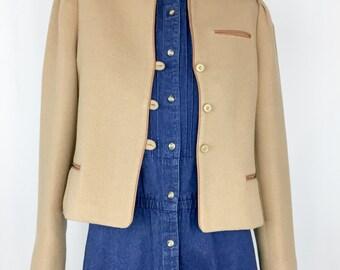 Vintage Cropped Camel Blazer    80s Minimal Camel Jacket    S-M