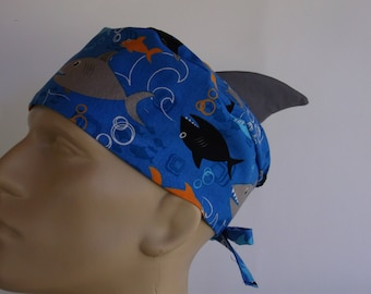 Shark Fin - Men's or Women's surgical scrub cap, scrub hat, Nurse surgical hat, 40-4550
