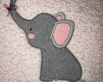 Hand Towel - Embroidered Elephant