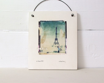 Paris.  Eiffel Tower.  France.  Polaroid Transfer Printed on Fired Clay Slab.  La Tour Eiffel.