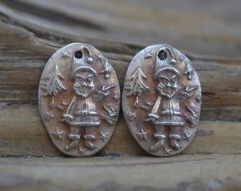 Christmas Elves-  Small Handmade White Copper Charms