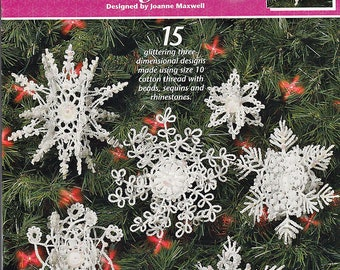 Pearl Drop snowflake Ornaments Thread Crochet Pattern Book Annie's Attic 873413