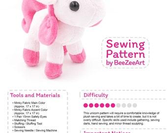 Unicorn Plush Sewing Pattern, Stuffed Animal Pattern, Plushie Sewing Pattern, PDF Digital Download