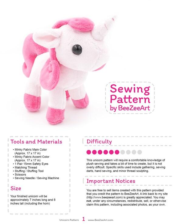 Unicorn Plush Sewing Pattern, Stuffed Animal Pattern, Plushie Sewing ...
